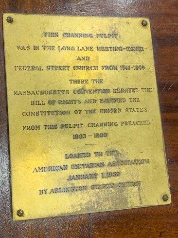 Channing's Pulpit plaque