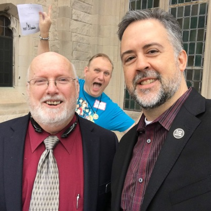 First Unitarian Chicago: Thom and Scot (photobomb by Johnny)